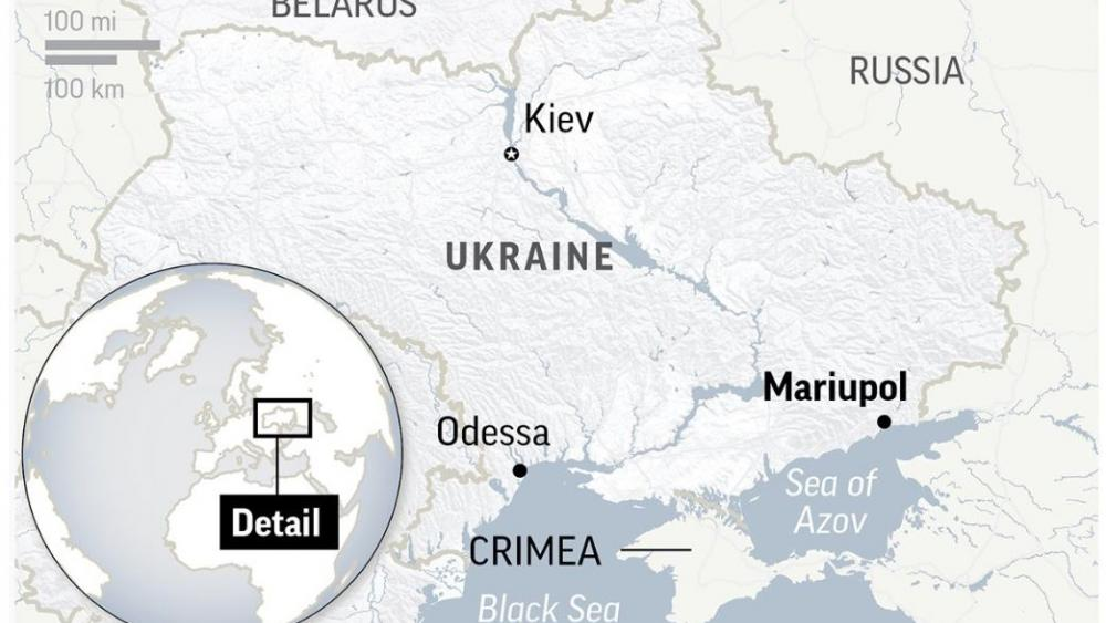 Ukraine And Russia Map.Ukraine Russia Tensions Soar After Black Sea Naval Incident Cbn News