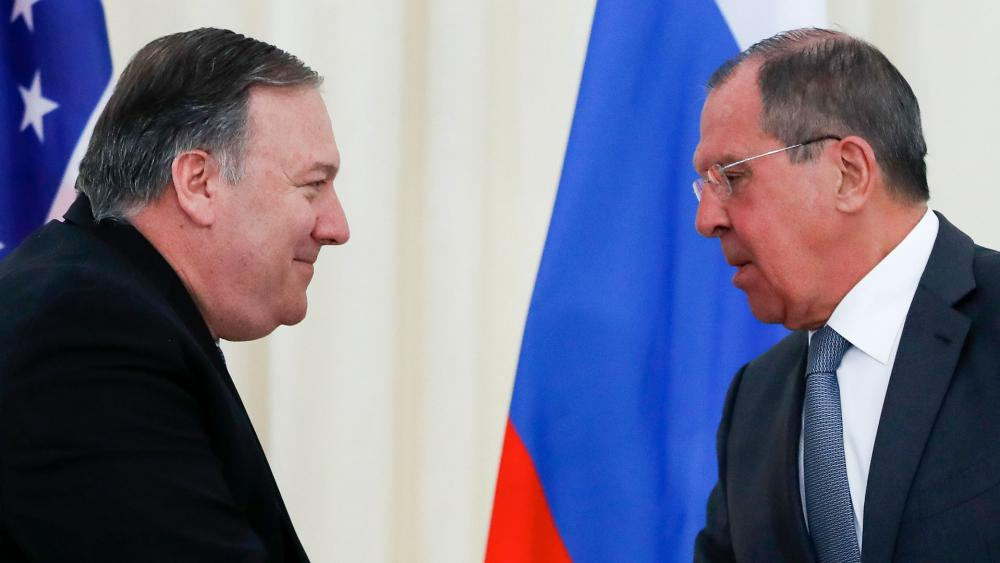 U.S. Secretary of State Mike Pompeo, left, and Russian Foreign Minister Sergey Lavrov shake hands after their joint news conference following the talks in the city of Sochi, southern Russia, Tuesday, May 14, 2019.(AP Photo/Pavel Golovkin)