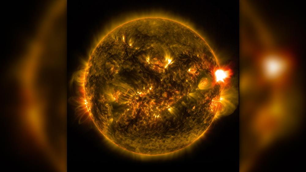 NASA photo from Jan. 12, 2015 shows a notable solar flare - the kind of celestial event that could interfere with electric grids on Earth.