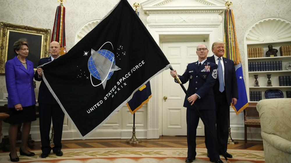 The United States Space Force flag as it is presented in the Oval Office of the White House (AP Photo/Alex Brandon)