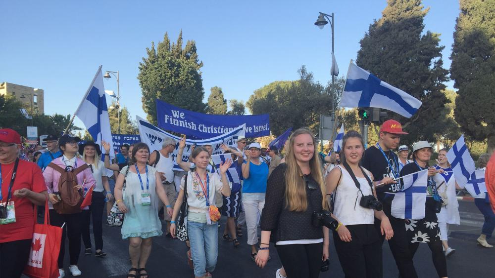 Feast of Tabernacles march in Jerusalem, CBN News image, Tzippe Barrow