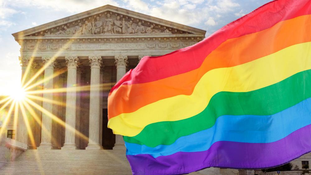 Supreme Court and LGBTQ flag