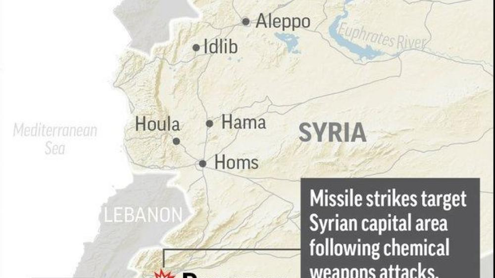 Map shows the capital of Syria.  AP Photo.