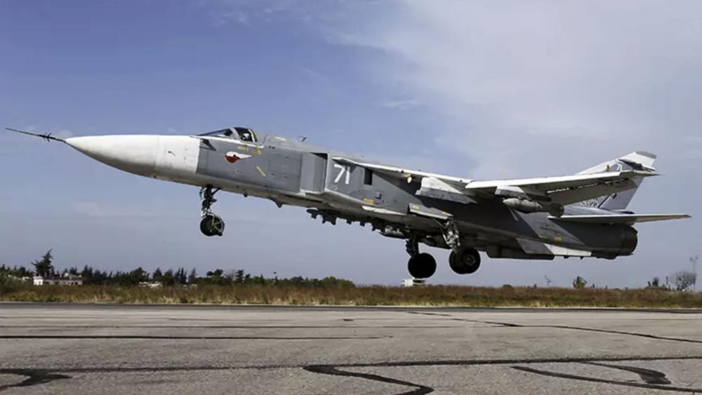 Sukhoi Su-24 fighter jet landing at the Hmeymim air base near Latakia, Syria, Photo, Russian Defense Ministry
