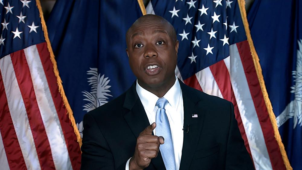 Sen. Tim Scott, R-S.C., delivers the Republican response to President Joe Biden's speech to a joint session of Congress on Wednesday, April 28, 2021, in Washington. (Senate Television via AP)