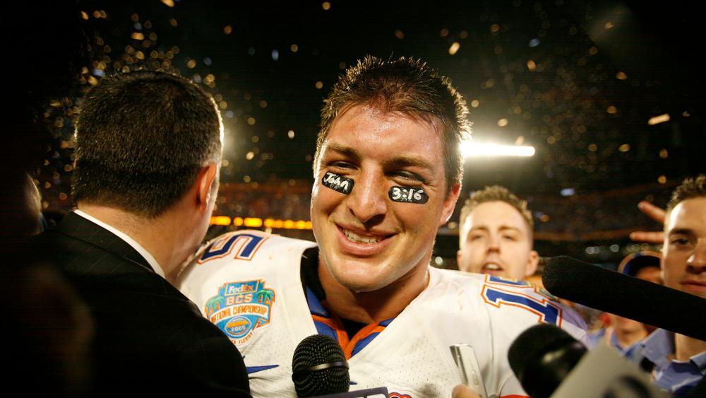 Florida quarterback Tim Tebow after the BCS Championship NCAA college football game, Jan. 8, 2009. (AP Photo/Lynne Sladky)
