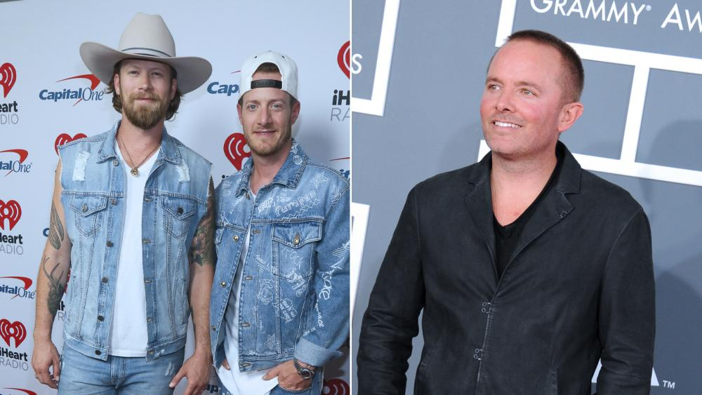 """Florida George Line's Tyler Hubbard and Brian Kelley recently invited Christan Music Artist Chris Tomlin, right, on stage to """"bring their audience to church.""""  (AP Photos)"""