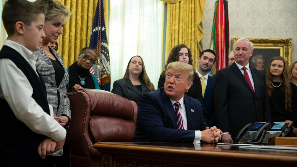 President Donald Trump speaks during an event on prayer in public schools, in the Oval Office of the White House, Thursday, Jan. 16, 2020, in Washington. (AP Photo/ Evan Vucci)