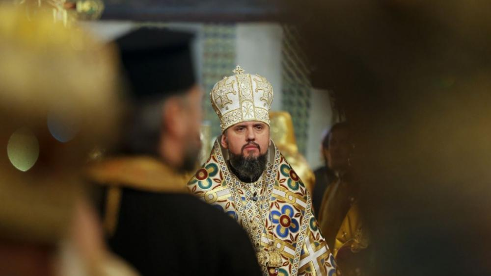 Metropolitan Epiphanius, newly elected head of the Orthodox Church of Ukraine, Metropolitan of Kyiv and All Ukraine, conducts a service during his enthronement in the St. Sophia Cathedral in Kiev, Ukraine, Sunday, Feb. 3, 2019. (AP Photo)