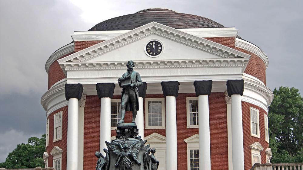 University of Virginia Rotunda and Statue of Thomas Jefferson