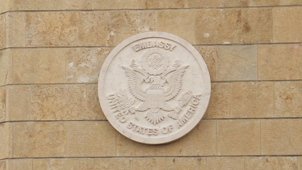US Embassy Seal at its new location in Jerusalem, Photo, CBN News, Jonathan Goff