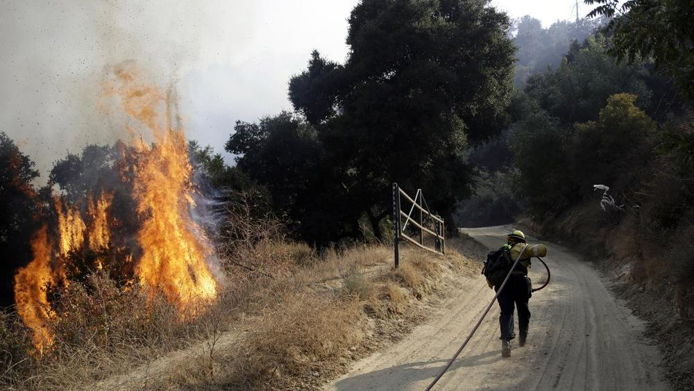A firefighter runs up a fire road to hose down flames from a wildfire (AP Photo/Marcio Jose Sanchez)