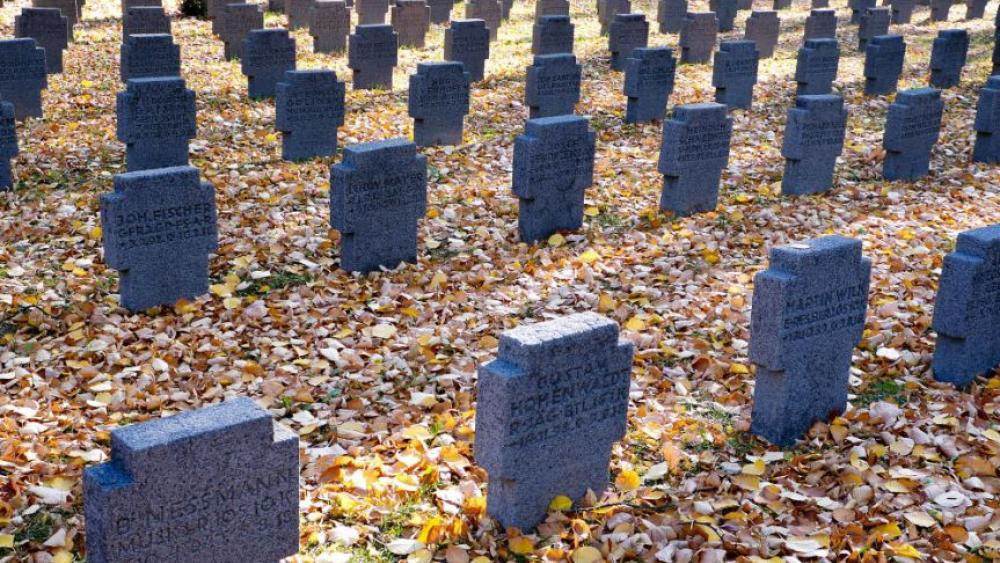 A field of graves belonging to WWI soldiers in the main cemetery in Frankfurt, Germany, Saturday, Nov. 3, 2018. AP Photo.