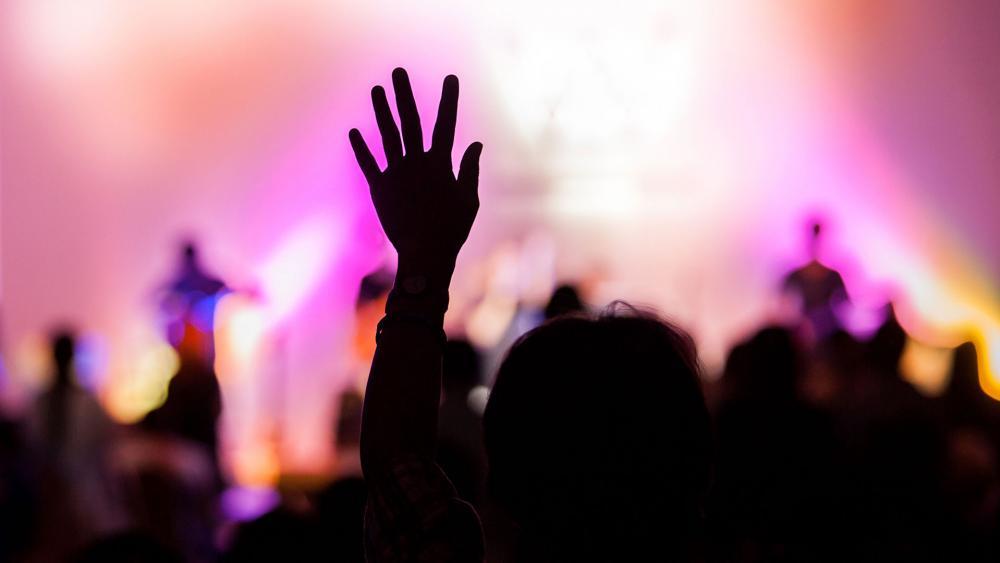 Worshipper in church.