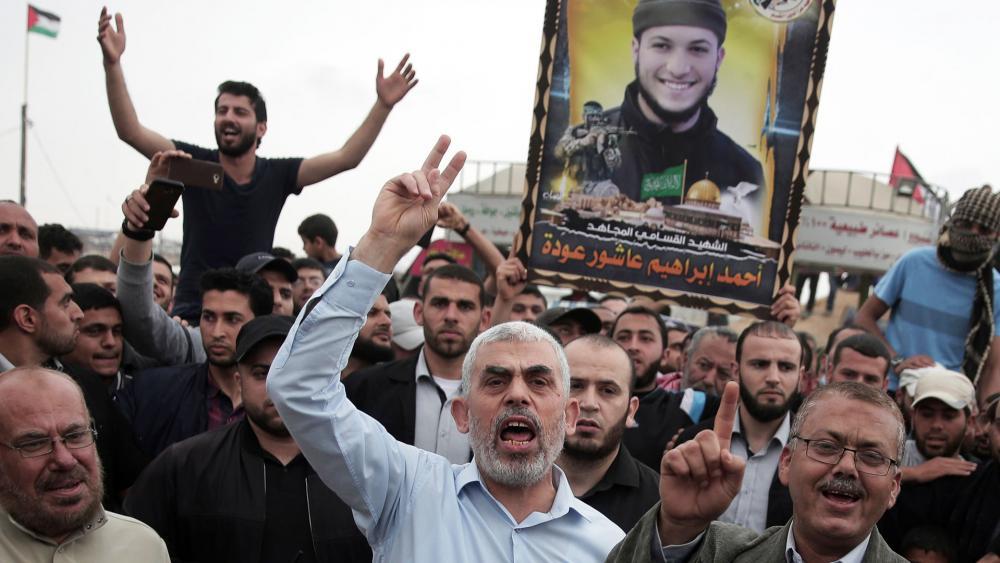 Hamas chief Yahya Sinwar Joins Riots at Israel's Border with the Gaza Strip, Photo, AP