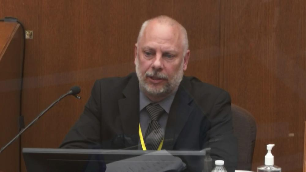 Witness David Pleoger, a retired Minneapolis police sergeant answers questions in the Derek Chauvin trial. (Court TV via AP, Pool)