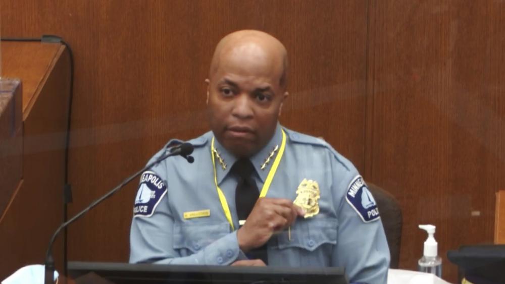 In this image from video, witness Minneapolis Police Chief Medaria Arradondo testifies. Court TV via AP, Pool)