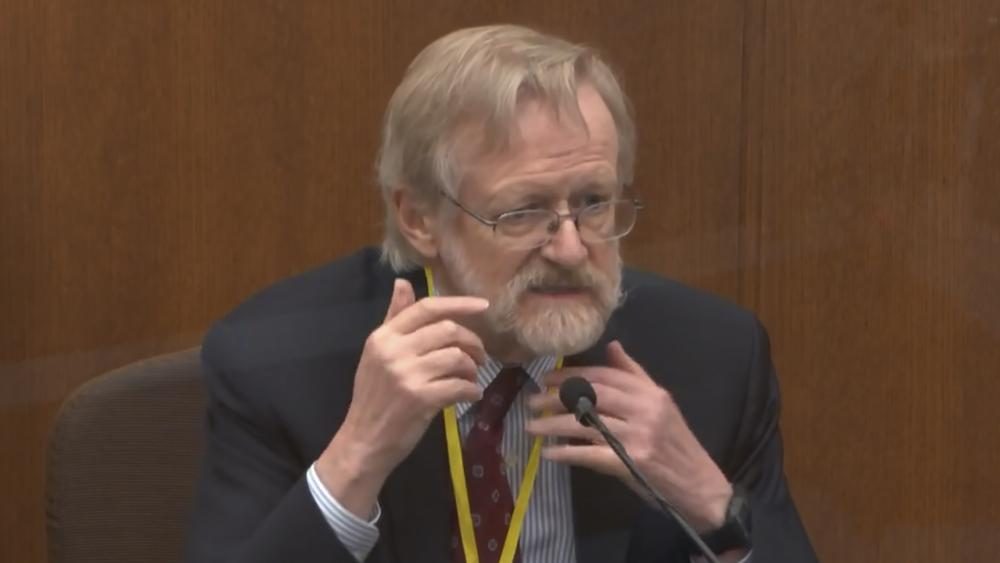 In this image from video, Dr. Martin Tobin testifies as Hennepin County Judge Peter Cahill presides Thursday, April 8, 2021. (Court TV via AP, Pool)