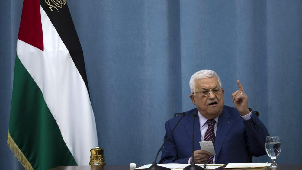 In this May 12, 2021 file photo, Palestinian President Mahmoud Abbas speaks a meeting of the PLO executive committee. (AP Photo/Majdi Mohammed, File)