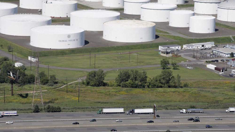 Oil storage tanks owned by the Colonial Pipeline Company in Linden, N.J. (AP Photo/Mark Lennihan, File)