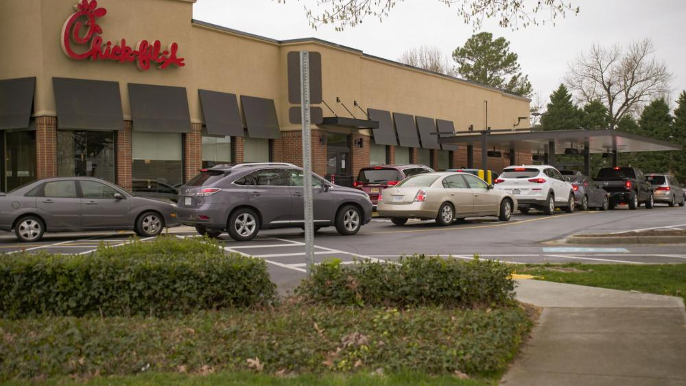 Chick-fil-A has closed its dining room and is only offering drive-thru during the coronavirus outbreak (Image credit: Malcolm O'Sullivan/CBN News)