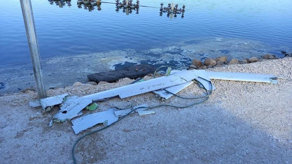 Fragments of the drone Israel shot down. Photo Credit: IDF