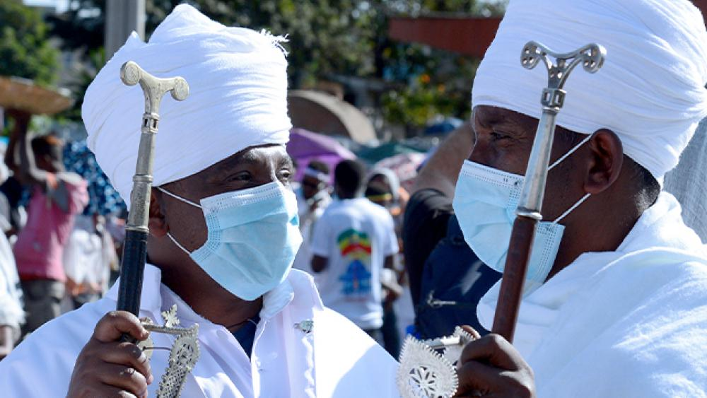 Ethiopians at the church in Addis Ababa, Ethiopia, during the Timket festival, Jan, 18, 2021, an Orthodox Christian occasion (AP Photo)