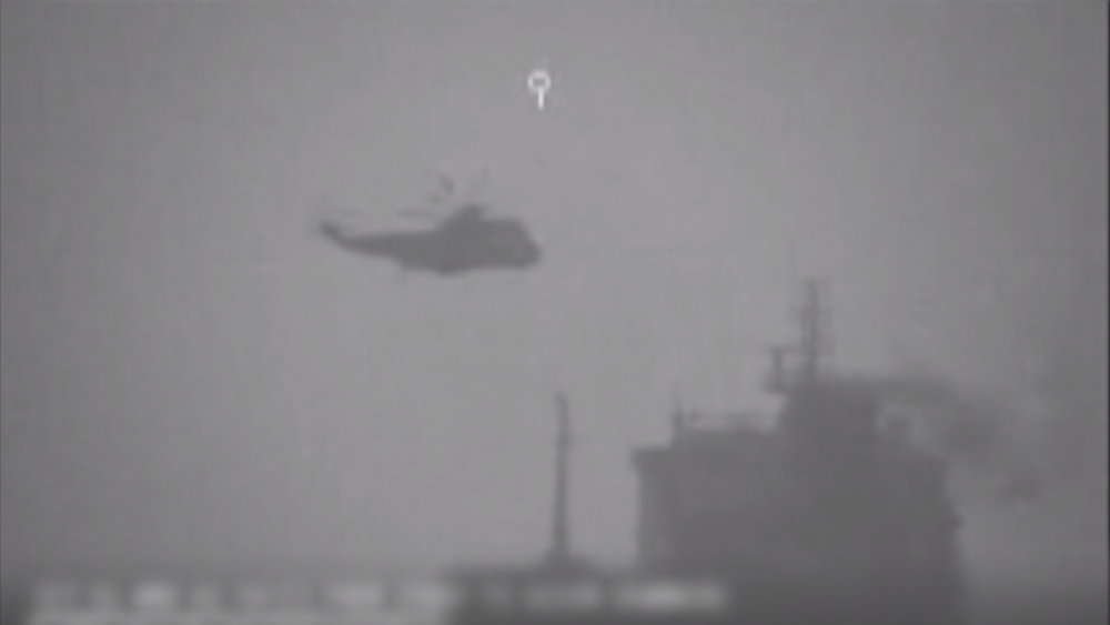 AP:  Surveillance footage of Iranian navy commandos fast-roping onto the MV Wila