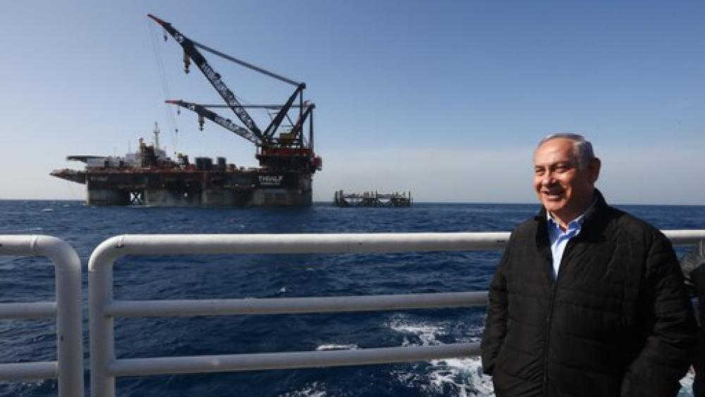An oil platform in Israel's Leviathan natural gas field, in the Mediterranean off the Israeli coast. Israel became a major energy exporter for the first time on Dec. 16, 2019, signing a permit to export gas to Egypt. (Marc Israel Sellem/Pool via AP)