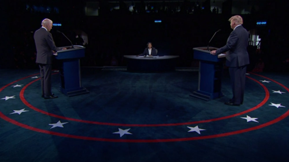 President Donald Trump, right, and Democratic presidential candidate former Vice President Joe Biden, left, during the second and final presidential debate Thursday, Oct. 22, 2020, at Belmont University in Nashville, Tenn. (AP video sreenshot)