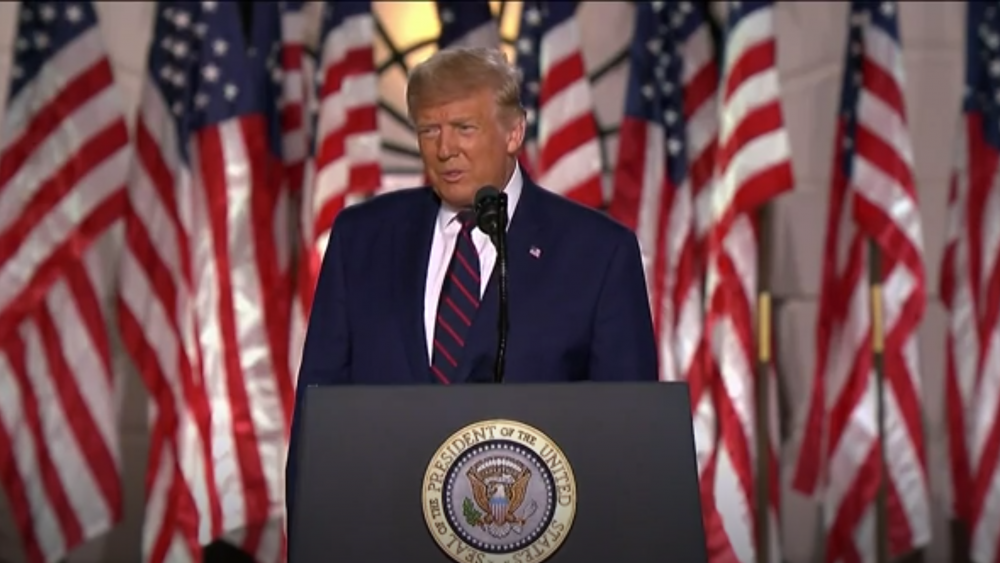 President Donald Trump accepts his party's nomination for a second term on the White House lawn. August 27. AP video screenshot.