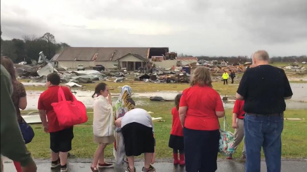 Severe weather destroyed a building at Hope Baptist School in Rapides Parish (Image: Screen Capture/ABC News footage)