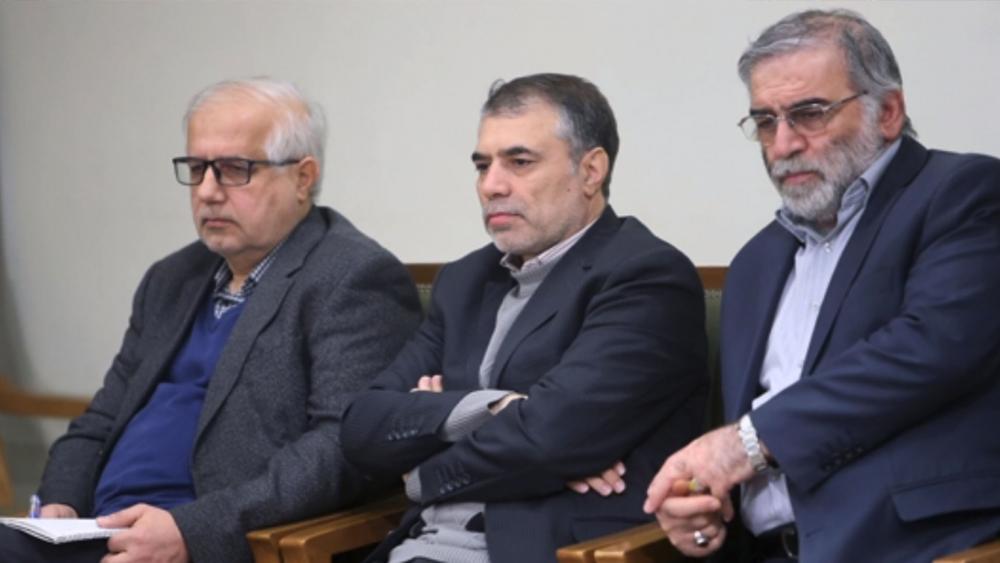 AP Still: Mohsen Fakhrizadeh, right, sitting in a meeting with Supreme Leader Ayatollah Ali Khamenei. 23 Jan. 2019