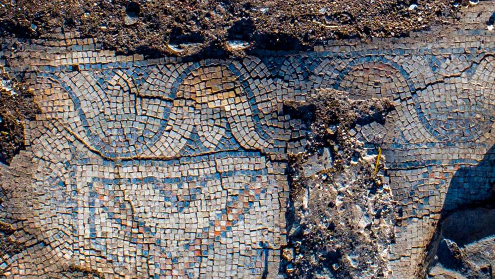 Mosaic floor of the ancient church. Photography: Alex Wiegmann, Israel Antiquities Authority