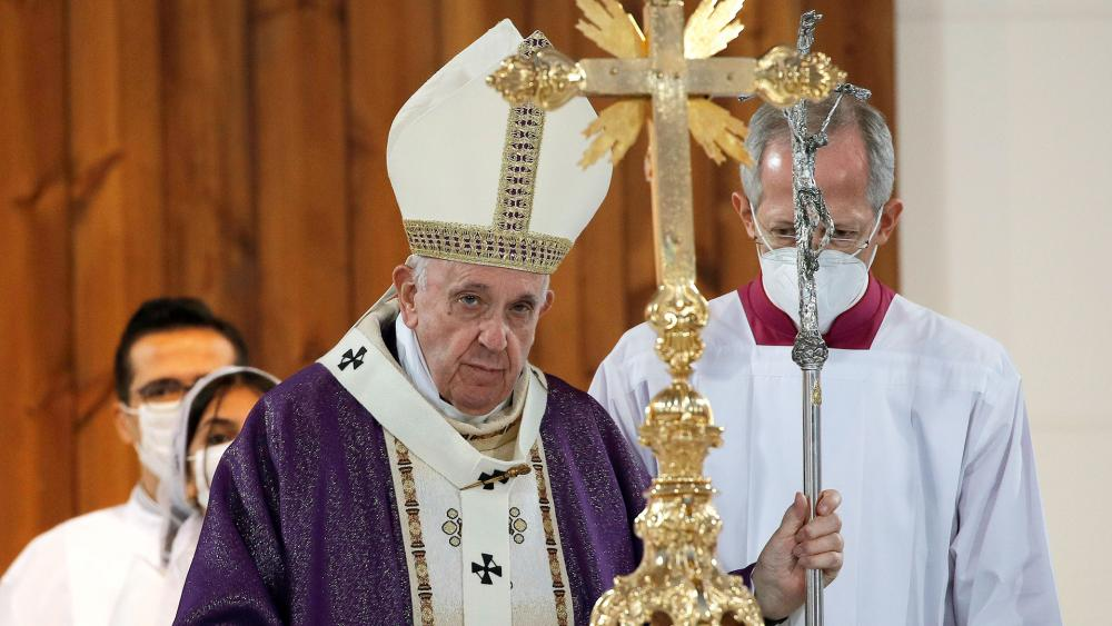 Pope Francis celebrates Mass at the Franso Hariri Stadium in Irbil, Kurdistan Region of Iraq, Sunday, March 7, 2021. (AP Photo/Hadi Mizban)
