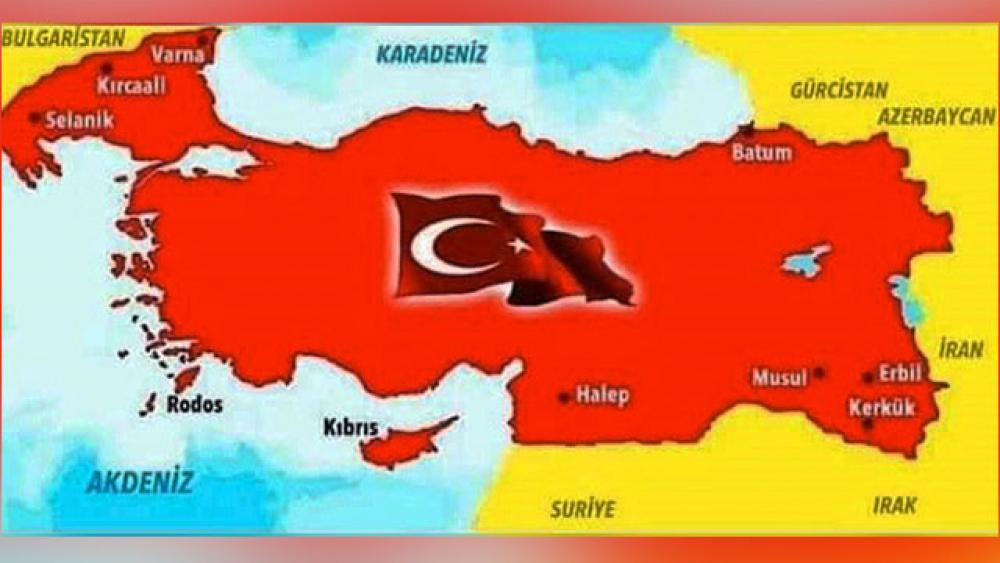 Turkish Minister of Defense Hulusi Akar posted this map showing Turkey taking land from its neighbors.