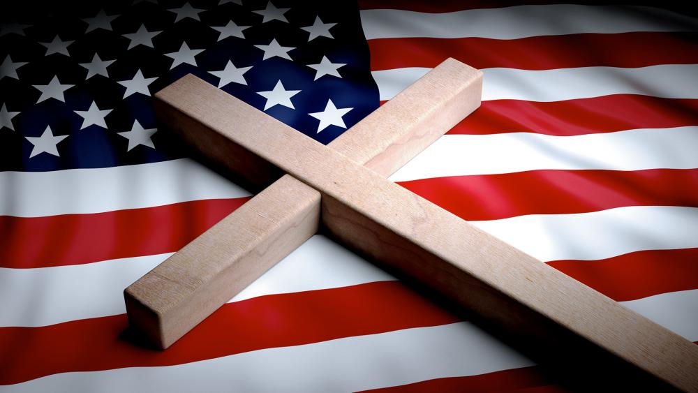 US Flag and Cross