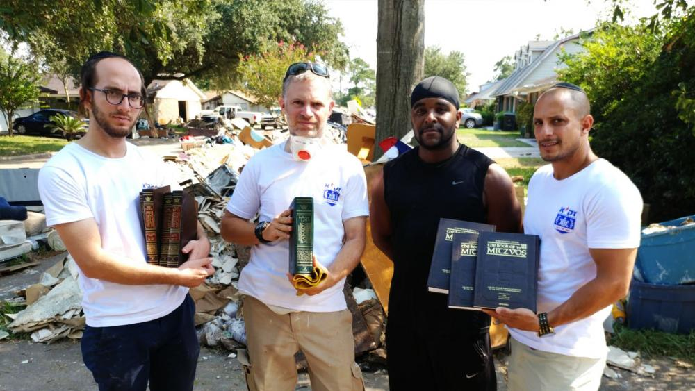 Jewish books saved from Houston flood, Zaka